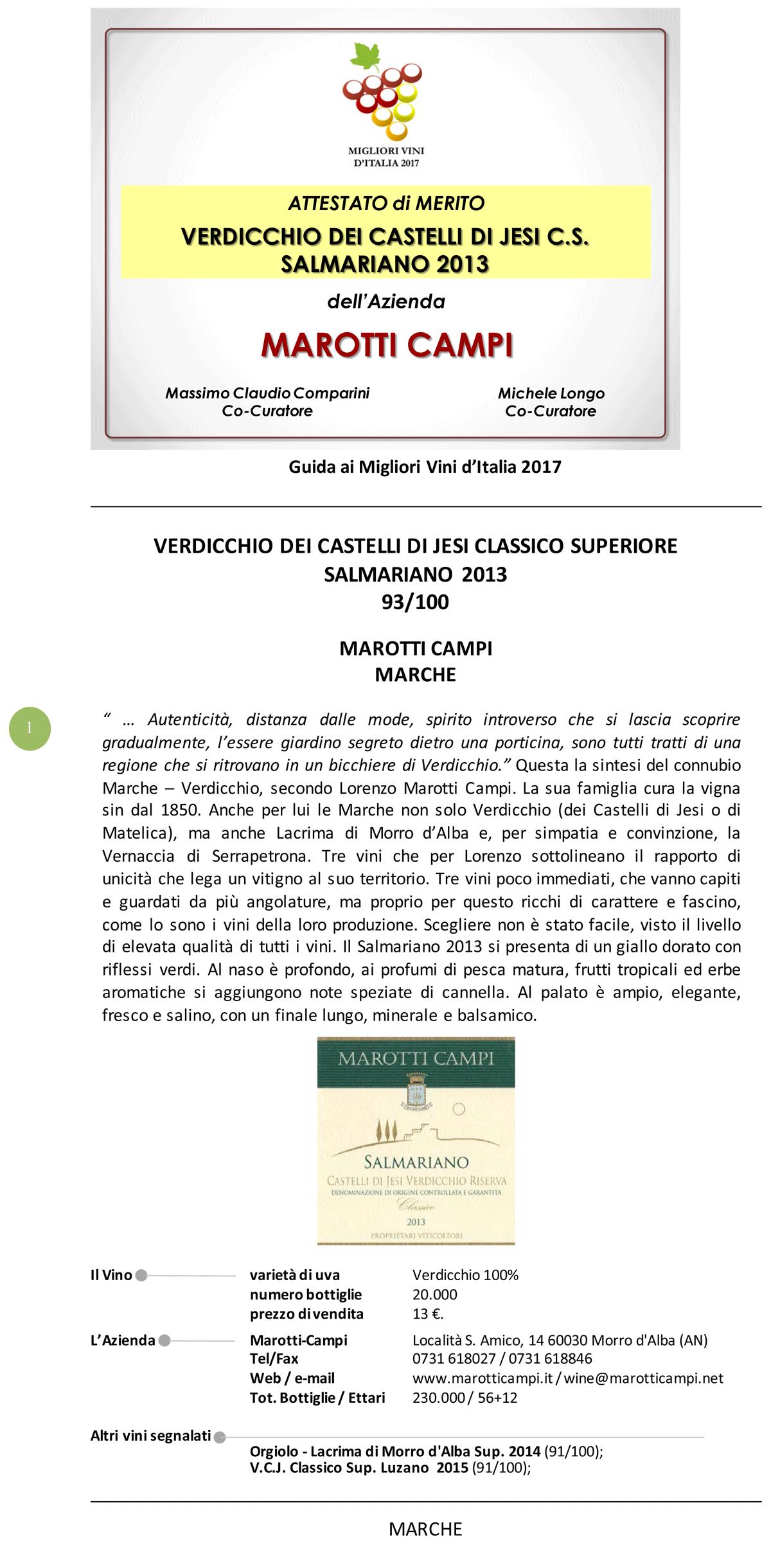 Lacrima e Verdicchio Marotti Campi guida migliori vini d'Italia