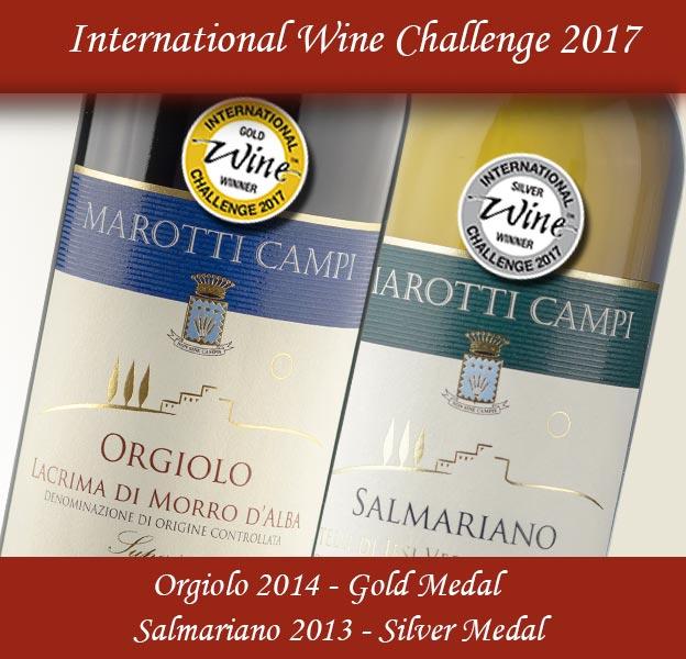 Orgiolo Lacrima di Morro d'Alba Superiore 2014 Gold Medal International Wine Challenge, Salmariano 2013 Verdicchio Riserva Silver Medal