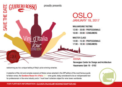 Marotti Campi gambero Rosso Oslo tasting, Lacrima and Verdicchio