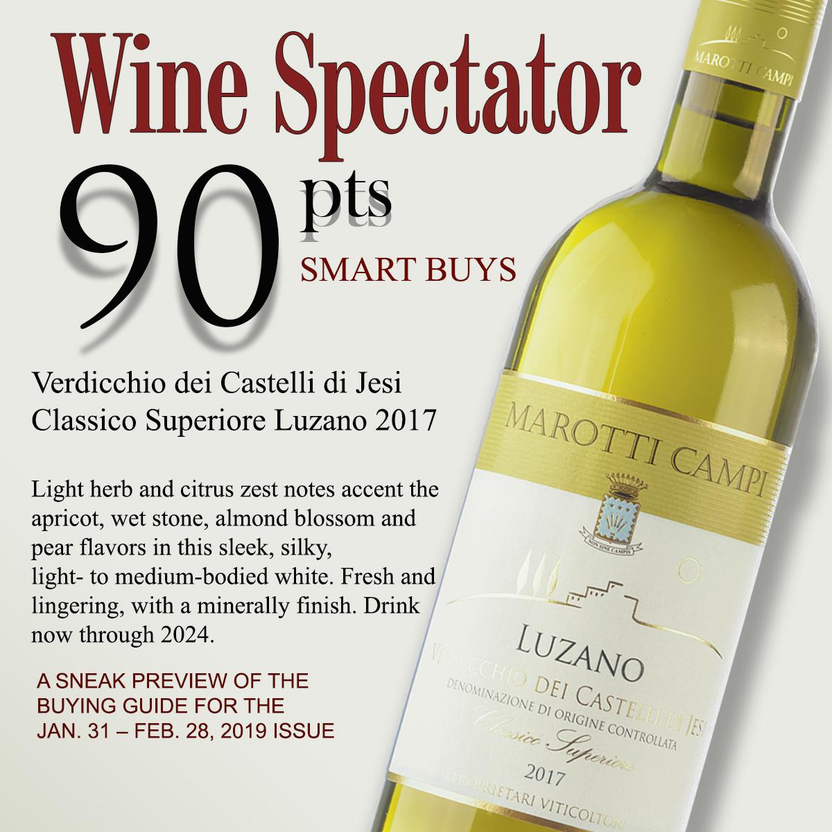 Wine Spectator Verdicchio Marotti Campi Luzano 90 pts