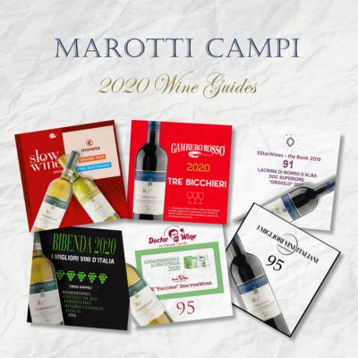 Guide 2020 Marotti Campi Lacrima e Verdicchio Tre Bicchieri Gambero Rosso, Grande Vino Slow Wine, 5 Grappoli Bibenda, 5Star wines, Faccino 95 Doctor Wine Cernilli