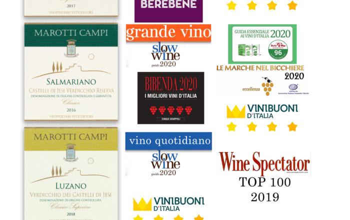 TOP-AWARDS-2019-Marotti-Campi TOP100WS, Tre Bicchieri Gambero Rosso, Grande Vino Slow Wine, 5 Grappoli Bibenda, Doctor Wine Faccino, 5Stars Wines, Wine Spectator, Lacrima Verdicchio